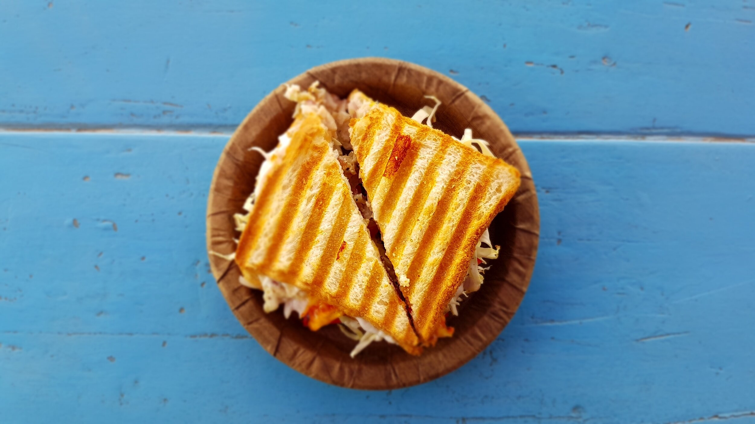 sandwiches with a blue background