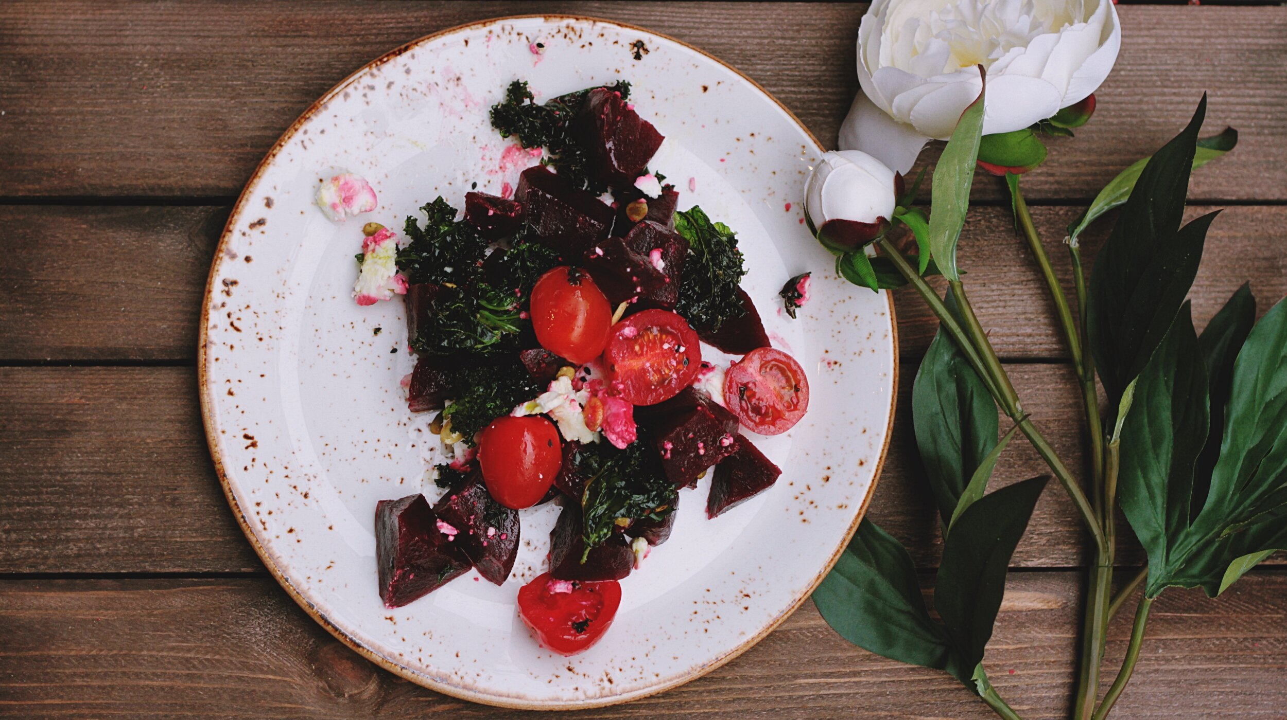 beet salad with white rose